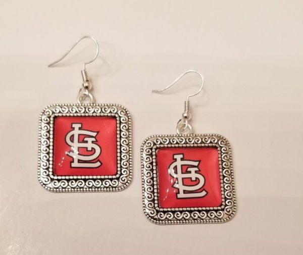 $14 new silver plated STL Cardinal earrings