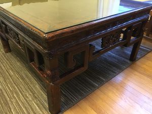 Coffee table: pretty, antique. Wood with glass top for Sale in Portland, OR