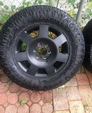4 packet of Tires and rims for car. Truck F150 nitto dune grappler # 285 / 65 / r18 $600 price NO NEGOTIABLE $600 OK $600 CASH for Sale in Miami, FL