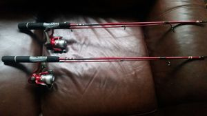 2/Zebco spin cast reels poles with line ready fish for Sale in Seattle, WA