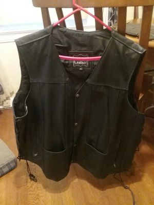 Genuine leather motorcycle vest. for Sale in Cleveland, OH