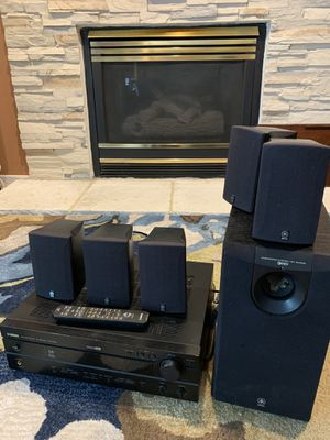 Yamaha receiver + powered subwoofer set + surround speakers for Sale in South Brunswick Township, NJ