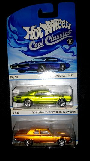 Two cool classics 67 Oldsmobile 442 63 Plymouth Belvedere 426 Wedge hot wheels matchbox diecast unopened $15 for Sale in La Puente, CA