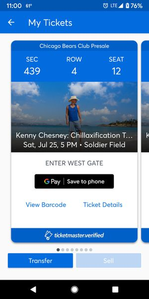 Kenny Chesney at Soldier Field Saturday July 25, 2020. Section 439 row 4. 8 seats available for Sale in Chicago, IL