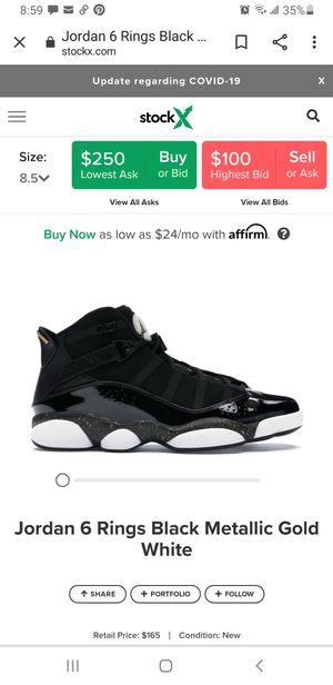 Jordan Six Ring black metallic gold and white size 11 for Sale in Phoenix, AZ