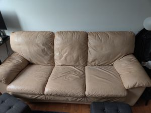 Leather couch white for Sale in Philadelphia, PA