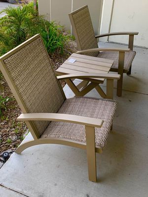 New in box 3 pcs steel large adirondack lounger porch chair and wicker outdoor patio furniture set with table weather resistant material light brown for Sale in Whittier, CA