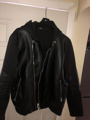 Zara Leather and nylon hooded jacket 2x (fitted) for Sale in Baltimore, MD