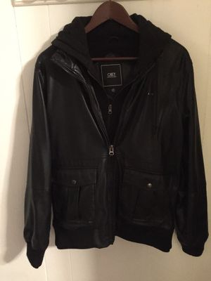 Black leather jacket with attached hoodie sweatshirt for Sale in Nashville, TN