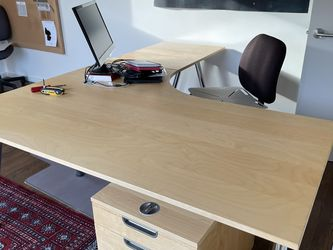 IKEA Gallant Desk, Birch, with Filing Cabinet On Casters for Sale in Seattle,  WA