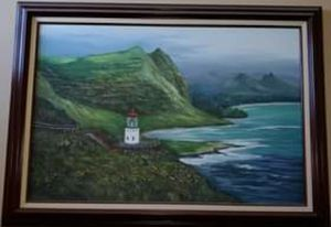 Large framed painting of the Makapu'u Lighthouse in Hawaii for Sale in Menifee, CA