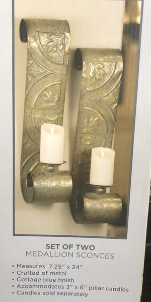 Set of two medallion sconces( Candle holders) for Sale in Cedar Park, TX
