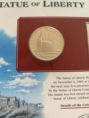 1986 Statue of Liberty collectible coin with stamp for Sale in Wadsworth, IL