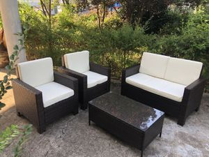 Brand New 4 Pieces Outdoor Patio Furniture Sets Rattan Chair Wicker Conversation Sofa Set, Outdoor Indoor Backyard Porch Garden Poolside Balcony Use for Sale in Stone Mountain, GA