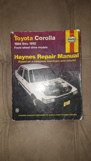 toyota corolla 1984 thru 1992 repair manual