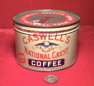 Vintage 1930s Geo Caswell's National Crest Coffee Tin Rare 1 lb Size VG Graphics for Sale in Lakeside, CA