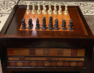 Wooden 3 in 1 Game Box- Chess, Checkers, Backgammon for Sale in Citrus Heights, CA