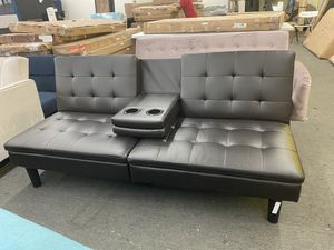 NEW CLEARANCE: Brown Faux Leather Sofa Futon with Cupholders for Sale in Houston, TX