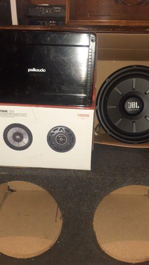 """JBL 12""""-1000 Watts new-12"""" sub box-Polk audio amp 800 Watts. for Sale in Detroit, MI"""