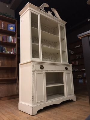 Cabinet Shelves Cupboard Bookcase - White Vintage Cottage style for Sale in Livonia, MI