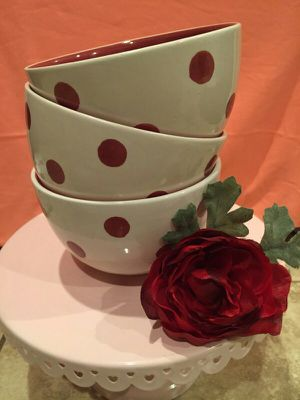 3 Beautiful Red Polka Dot Bowls for Sale in Fontana, CA