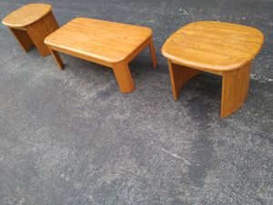 Heavy duty solid wood three piece living room table set for Sale in St. Louis, MO