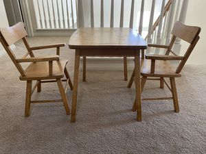 Antique oak hill wood kids desk and chairs for Sale in Riverside, CA