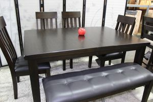 6 PC Dining Set with Extendable Dining Table, Brown for Sale in Santa Fe Springs, CA