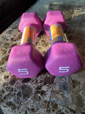 (2) 5 LB CAP Neoprene Hex Dumbbell Hand Weight Pair Set 10Lbs Total SHIPS FAST!! for Sale in Centreville, VA