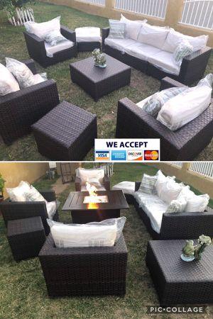 Patio furniture set with fire pit propane sunbrella for Sale in Riverside, CA