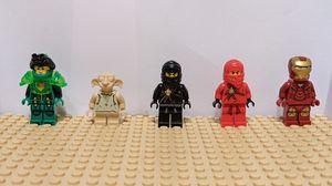 Lego Iron Man, Kai (Original), Cole (Original), Dobby (Original), and Nexo Knights Ultimate Aaron Minifigures for Sale in San Jose, CA