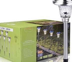 Silver Metal Waterproof Solar Landscape Pathway Garden Lights Outdoor Charged by Solar Power Lights Outdoor Apply to Path Light, Walkway Light or Driv for Sale in Corona,  CA