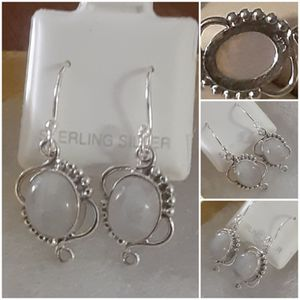 92.5 Sterling Silver Beaded Rainbow Moonstone Earrings for Sale in Pawtucket, RI