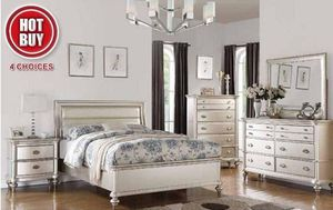 $1099 4 PIECES PLATINUM Luxury and contemporary collides in this spectacular bedroom set. The padded leatherette headboard is in pewter and the matc for Sale in Chino, CA