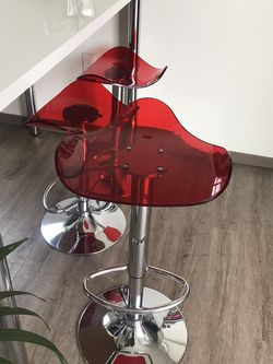 3 Red Bar Stools with High Table for Sale in Portland,  OR