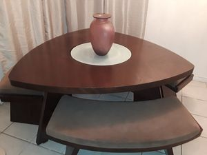 Wooden dinner table with benches (glass in the middle is a lazy susan) for Sale in San Diego, CA