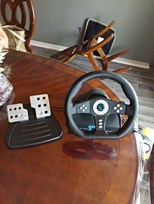 Ps2 racing steering wheel with pedals for Sale in Parlier, CA