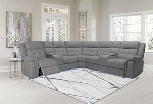 Grey reclining sectional sofa with led lighting for Sale in Chicago, IL