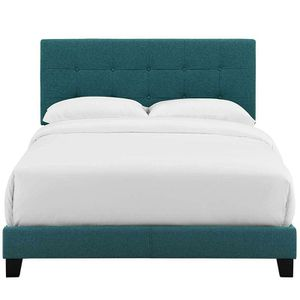 Modway Amira Tufted Fabric Upholstered Twin Bed Frame With Headboard In Teal for Sale in Columbus, OH