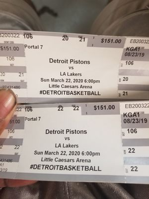 Detroit vs Lakers tickets in March 22nd for Sale in Toledo, OH