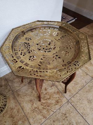 Antique brass hand carved table for Sale in Clovis, CA