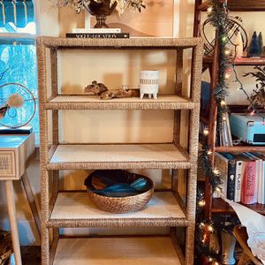 Boho Rattan Wicker Seagrass Etagere Shelf for Sale in San Diego, CA