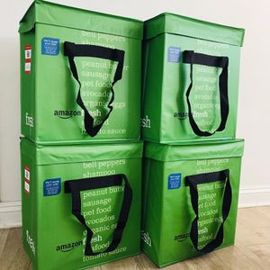 Large Amazon Heavy Duty Fresh Reusable Folding Green Tote Grocery Bag |Uber East/Postmates/Door Dash Food Deliveries | Tote Coolers for Sale in Bellflower, CA