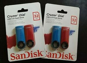 2 Packages of SanDisk Cruzer Dial 2x 32gb USB 2.0 Flash Drive for Sale in Phoenix, AZ