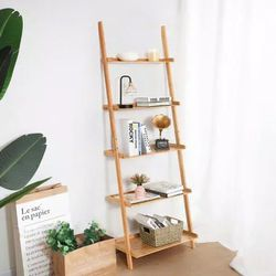 71 in. Natural Bamboo 5 -Shelf Ladder Bookcase with Wall-Leaning Storage for Sale in South El Monte,  CA