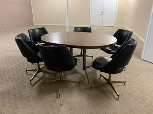 Retro style table and set of 6 leather chairs for Sale in Seattle, WA