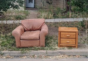 Free! Leather chair & bed side table for Sale in Golden, CO