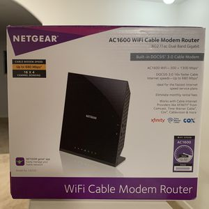 NETGEAR - Dual-Band AC1600 Router with 16 x 4 DOCSIS 3.0 Cable Modem - Black for Sale in Garland, TX