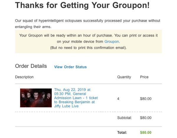 4 tickets for the price of 3!! Breaking Benjamin Bristow VA