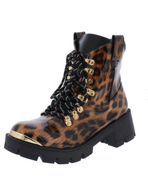 Women's Animal Print Gold Top Jodeci Combat Boot 9 for Sale in Cedar Hill, TX
